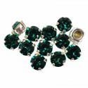 SS29 Emerald F Silver Brushed 53203 Chaton Montees Swarovski