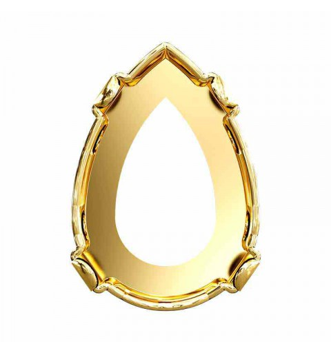 10X7mm 4320/S 3PH2O3 Gold Tombac plated Pear-Shaped Fancy Setting (4 HOLES - OPEN)