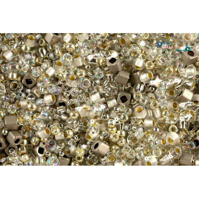 TX-01-3201 Junpaku- Crystal/Silver Mix TOHO Seed Beads
