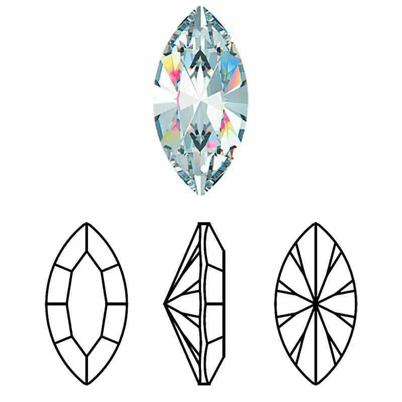 15x7MM Crystal DF Navette fancy stone Preciosa
