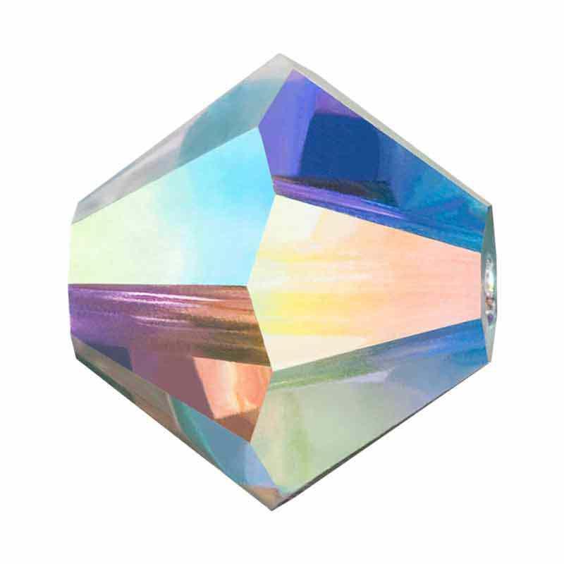 4MM Crystal AB Bi-Cone Rondell Preciosa Beads