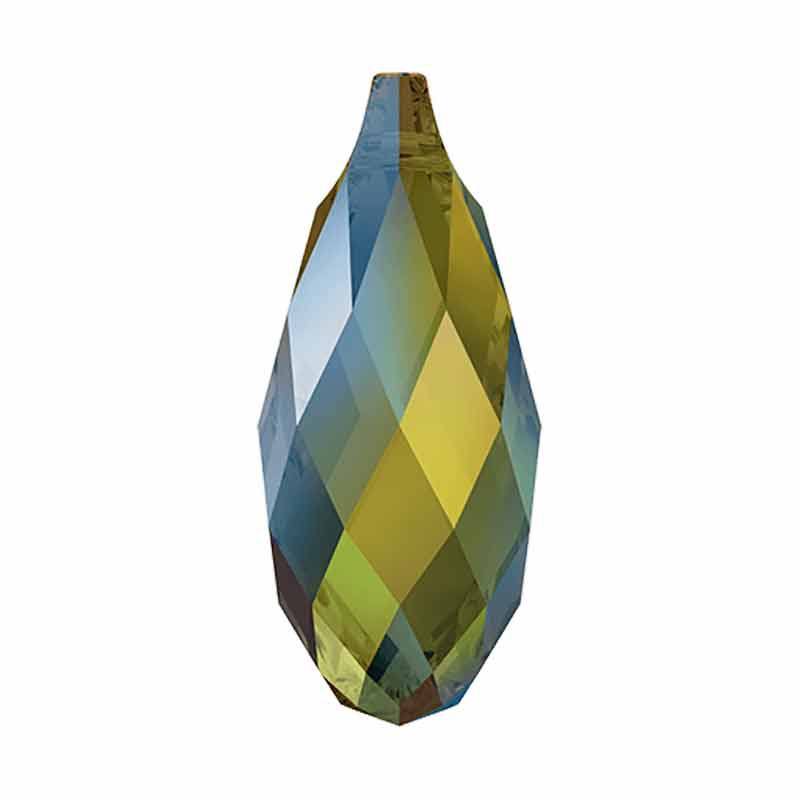 13x6.5MM Iridescent Green Briolette Pendant 6010 SWAROVSKI