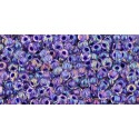 TR-11-181 INSIDE-COLOR RAINBOW CRYSTAL/TANZANITE LINED TOHO SEED BEADS