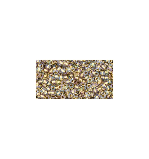 TR-11-262 INSIDE-COLOR CRYSTAL/GOLD LINED TOHO SEED BEADS