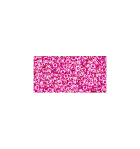 TR-11-350 INSIDE-COLOR CRYSTAL/FUSCHIA LINED TOHO SEED BEADS