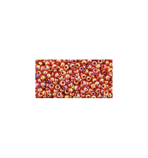 TR-11-1825 INSIDE-COLOR RAINBOW HYACINTH/OPAQUE PURPLE LINED TOHO SEED BEADS