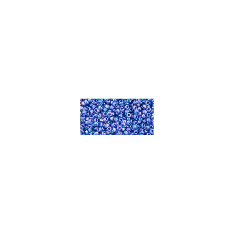 TR-11-1837 INSIDE-COLOR RAINBOW AQUA/OPAQUE PURPLE LINED TOHO SEED BEADS