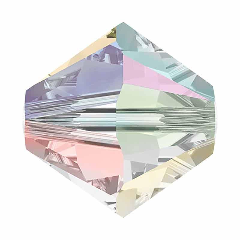 4MM Crystal AB2X Bi-Cone Rondell Preciosa Beads