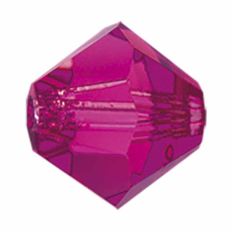 3MM Fuchsia BiCone Rondell Preciosa Beads