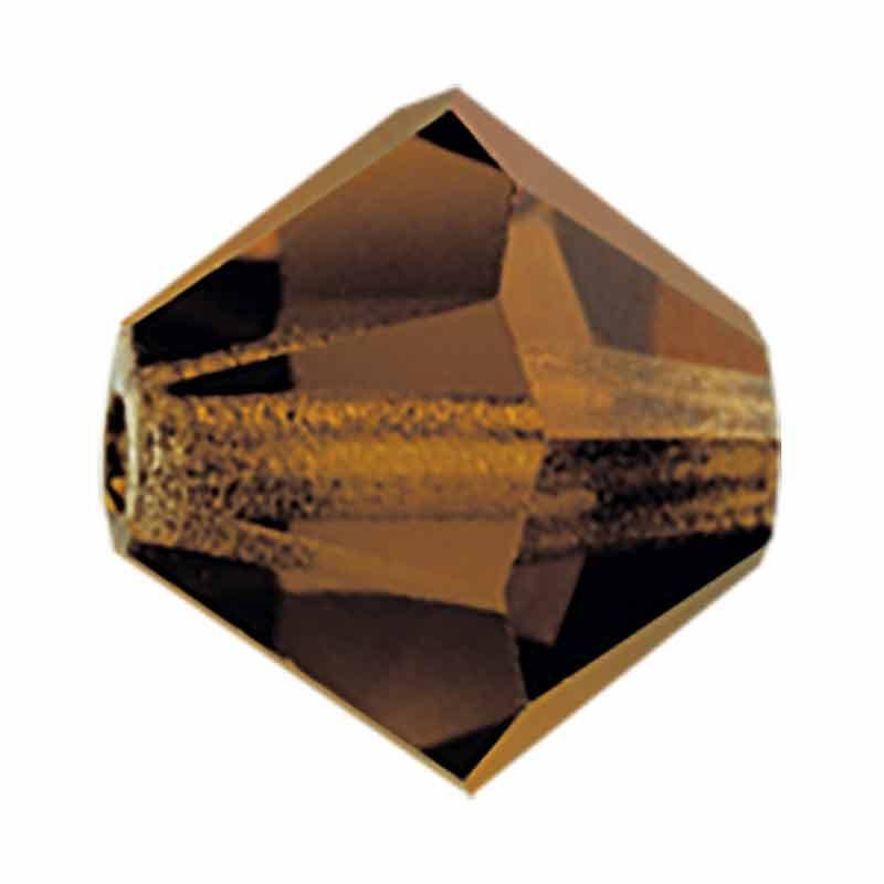 6MM Smoked Topaz BiCone Rondell Preciosa Beads