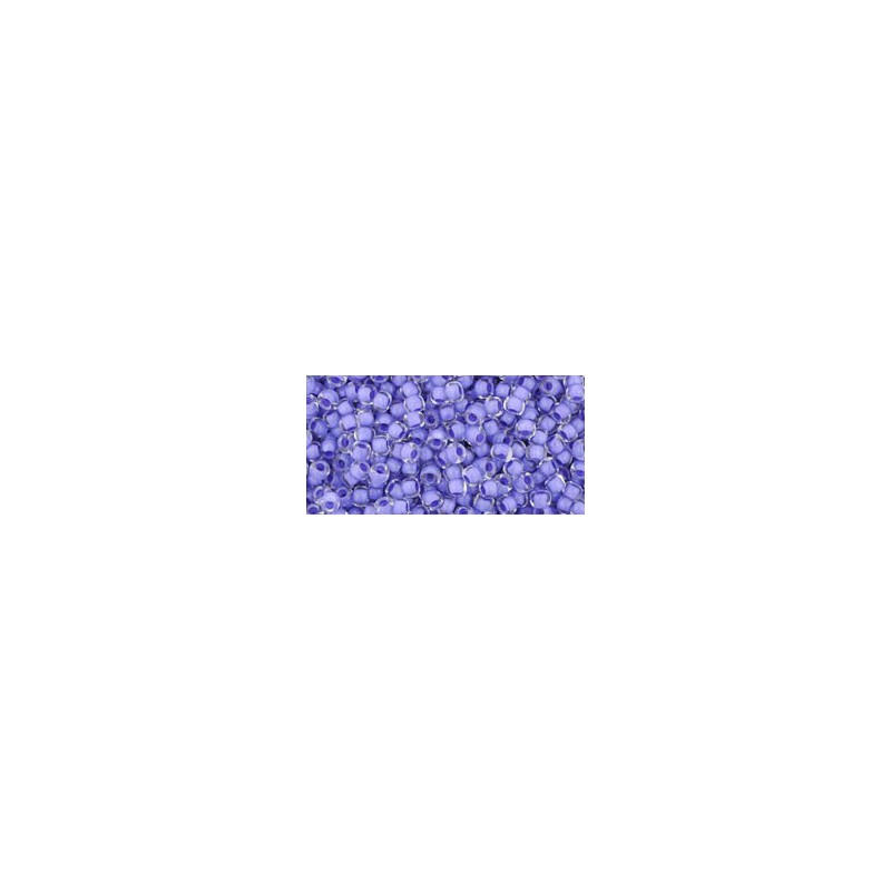 TR-11-977 INSIDE-COLOR- CRYSTAL/NEON PURPLE LINED TOHO SEED BEADS