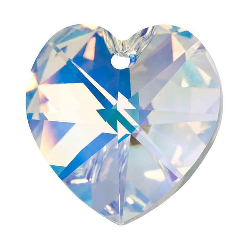 14MM Crystal AB Heart Pendant 615 Preciosa