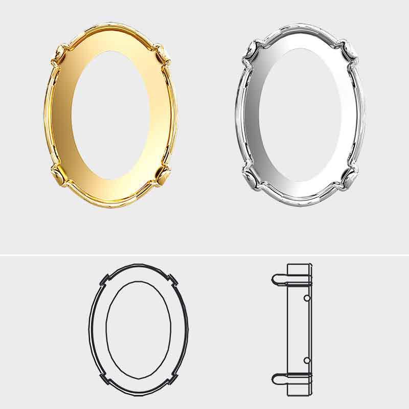 18x13mm 4120/S LIGHT GOLD Oval Fancy Setting 4HOLES-OPEN