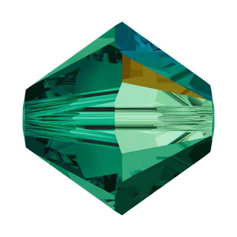 3MM Emerald AB Bi-Cone Rondell Preciosa Beads