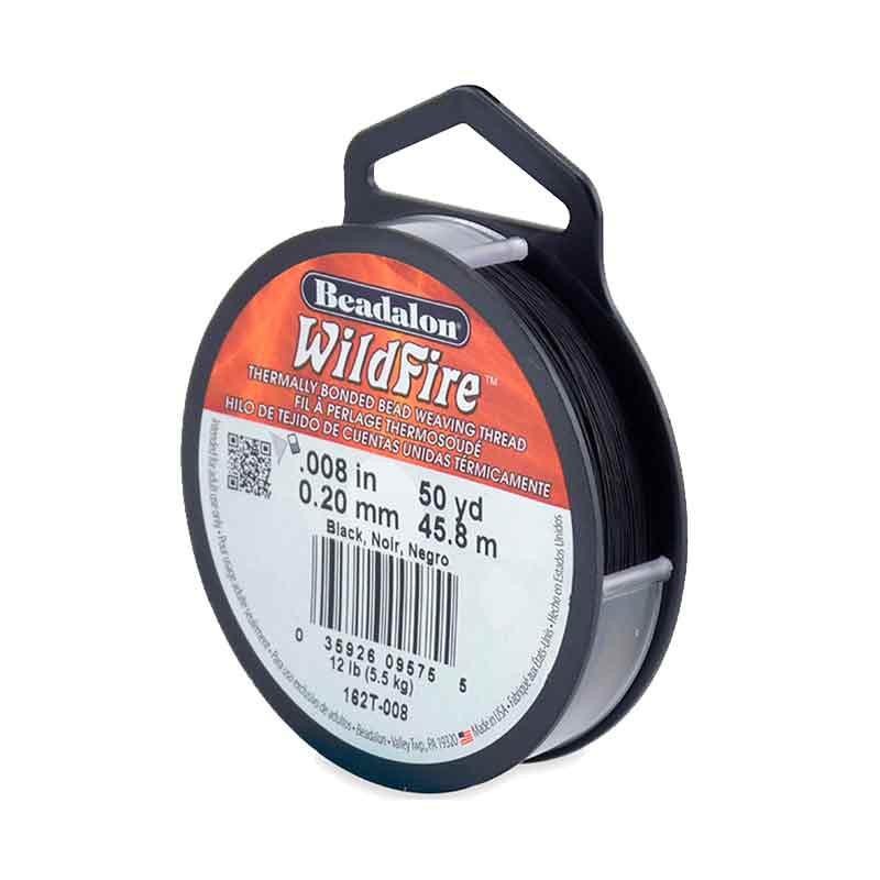 0.2mm WildFire Black Nylon thread Beadalon 45.8m