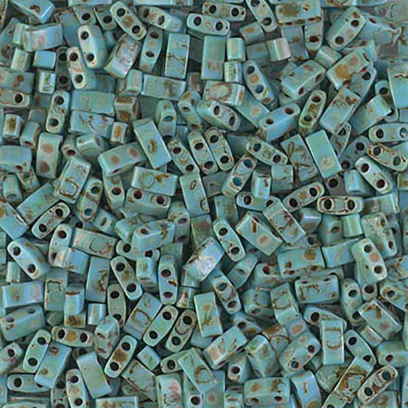 HTL-4514 Opaque Turquoise Blue Picasso Miyuki Half Tila SEED BEADS