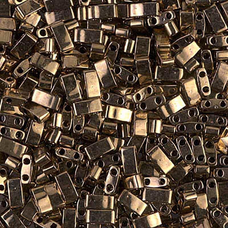HTL-457 Metallic Dark Bronze Miyuki Half Tila SEED BEADS