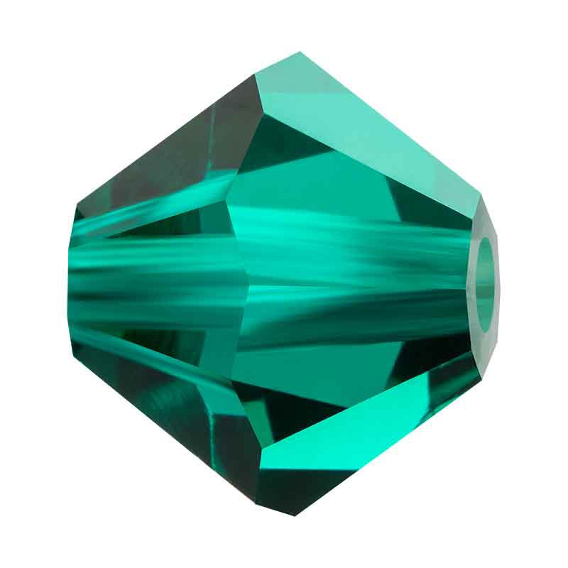 3MM Emerald BiCone Rondell Preciosa Beads