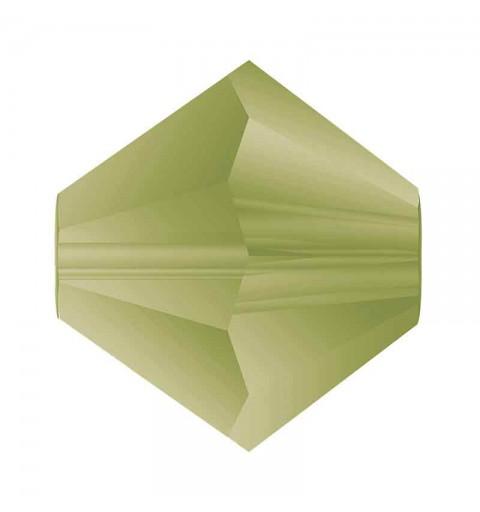 4MM Olivine Matt Bi-Cone Rondell Preciosa Beads