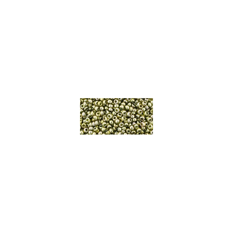 TR-11-457 GOLD-LUSTERED GREEN TEA TOHO SEED BEADS