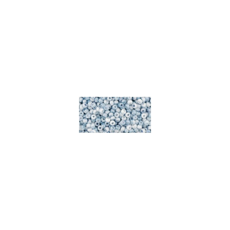 TR-11-1205 MARBLED OPAQUE WHITE/BLUE TOHO SEED BEADS