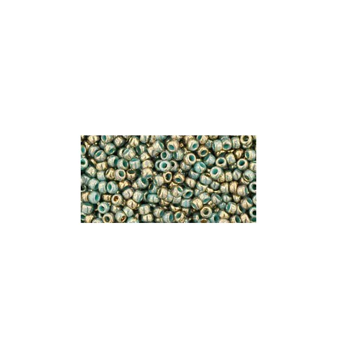 TR-11-1703 GILDED MARBLE TURQUOISE TOHO SEED BEADS