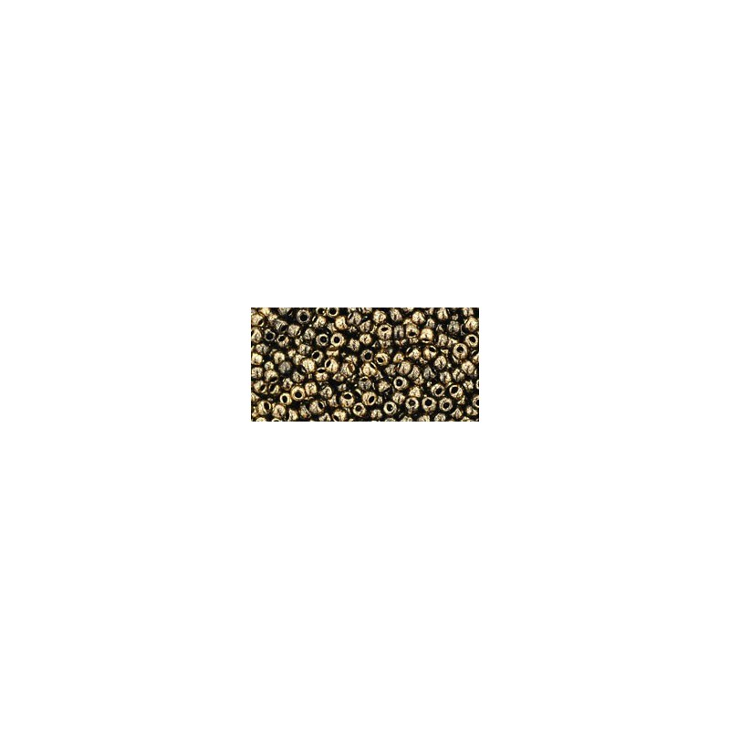 TR-11-1706 GILDED MARBLE BLACK TOHO SEED BEADS
