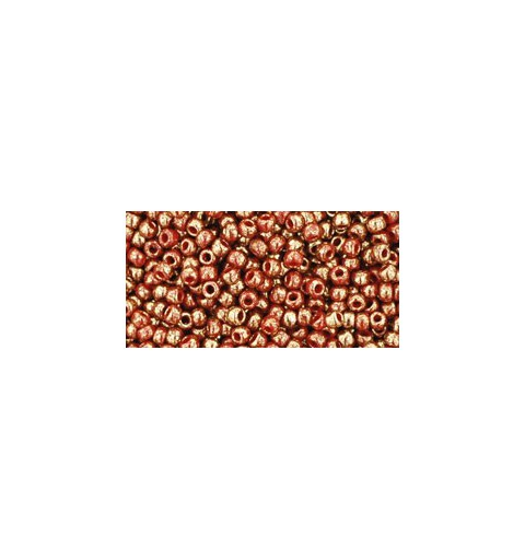 TR-11-1708 GILDED MARBLE RED TOHO SEED BEADS