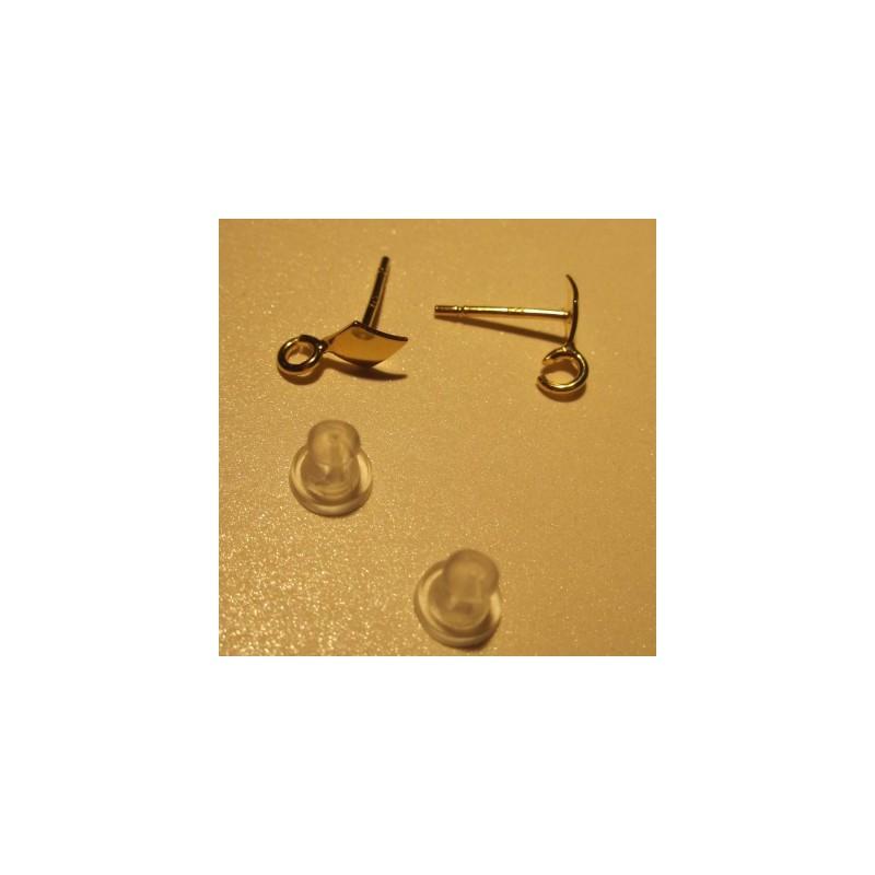 Серебрянный 925 Позолоченый гвоздик для серёжки с ромбом 12X11X6MM
