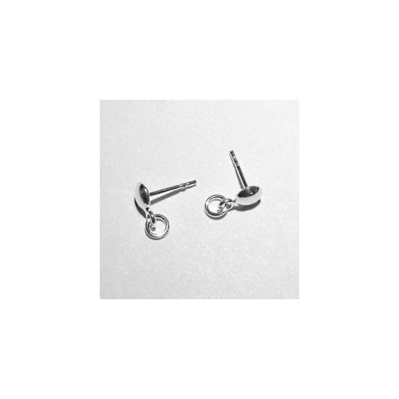 STERLING SILVER 925 EARRINGS STUD WITH A RING 12X11X6MM