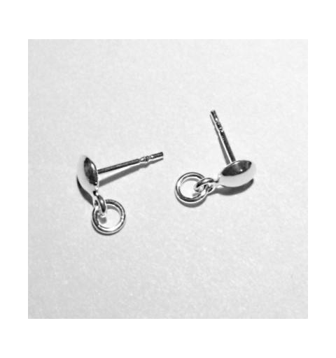 Серебрянный 925 гвоздик для серёжки с колцом 12X11X6MM