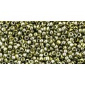 TR-15-457 GOLD-LUSTERED GREEN TEA TOHO SEED BEADS