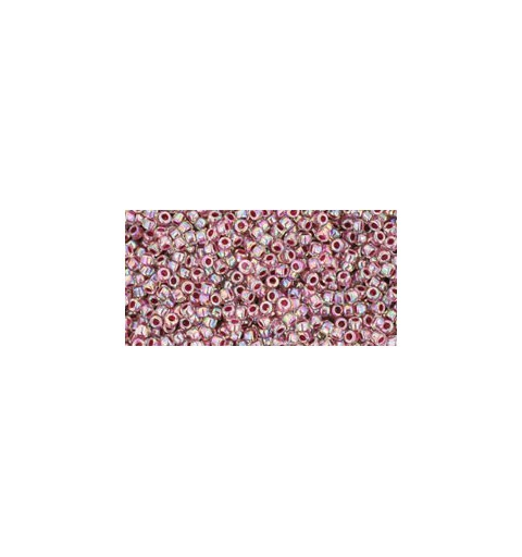 TR-15-771 INSIDE-COLOR RAINBOW CRYSTAL/STRAWBERRY LINED TOHO SEED BEADS