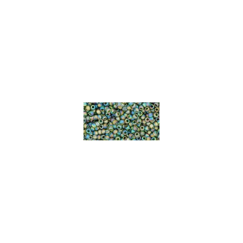 TR-11-180F TRANS-RAINBOW-FROSTED OLIVINE TOHO SEED BEADS