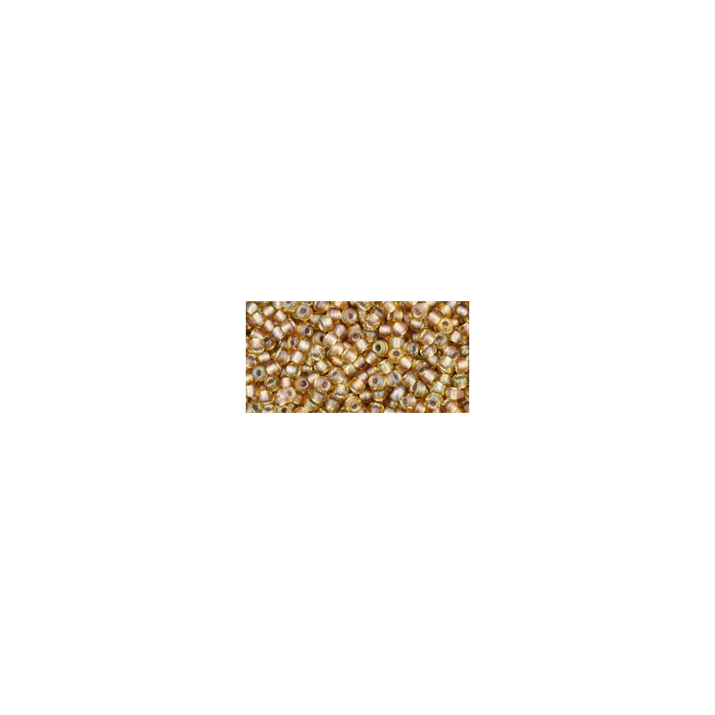 TR-11-279 INSIDE-COLOR RAINBOW LT TOPAZ/GRAY LINED TOHO SEED BEADS