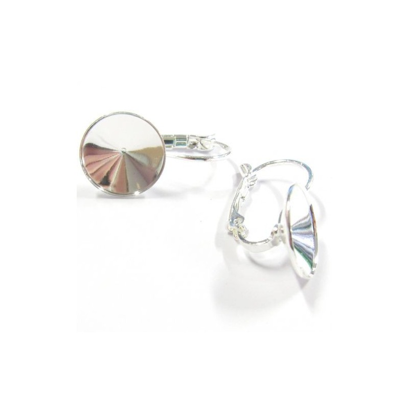 Metal silver plated Earring with setting with an edge for rivoli 1122 12mm approx. 22x12mm