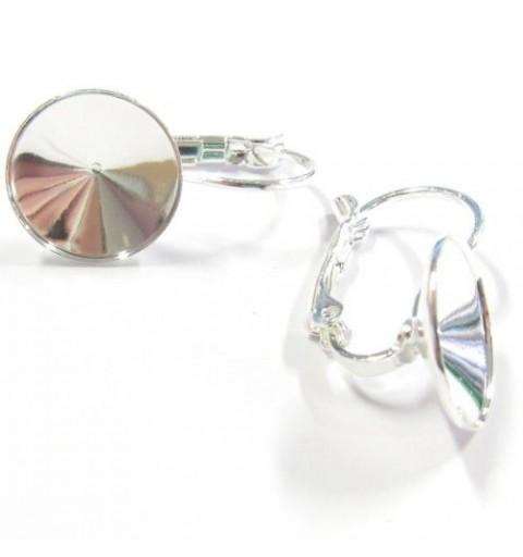 Metall kõrvarõnga toorik lukuga ja randiga hõbe värvi rivolile 1122 12mm ca. 22x12mm