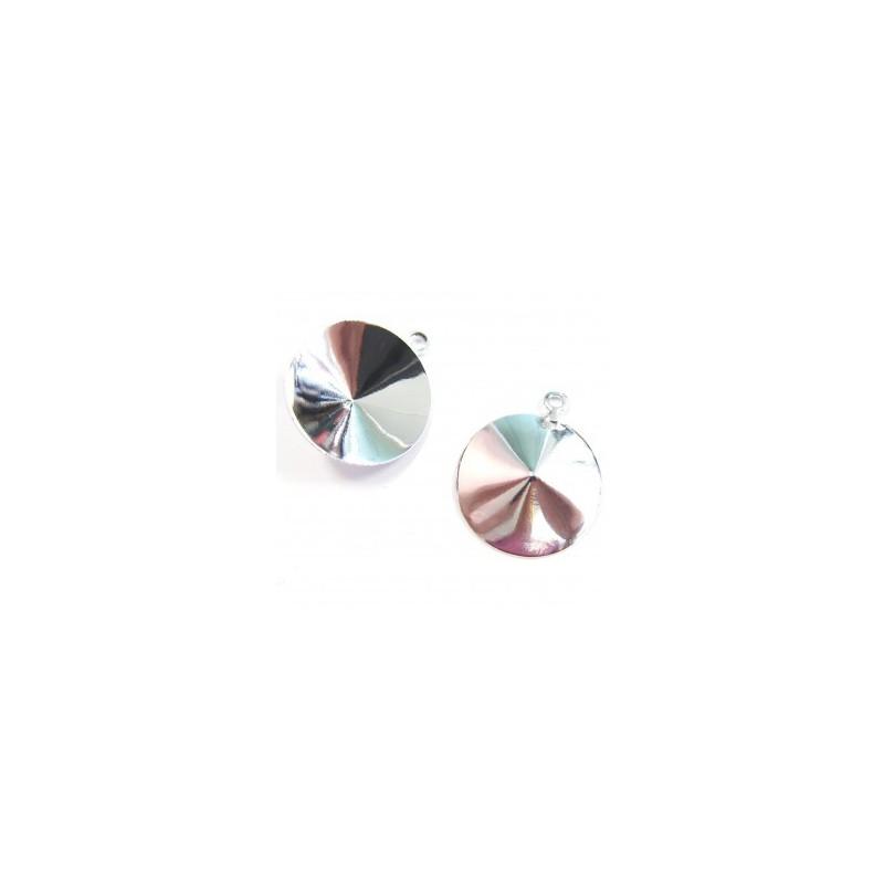 Металлическая основа для Подвески с кольцом серебрянного цвета для rivoli 1122 14мм прибл. 13x16mm