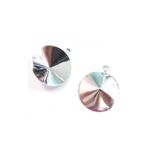 Metall kõrvarõnga toorik rõngaga hõbe värvi rivolile 1122 18mm ca. 17x20mm
