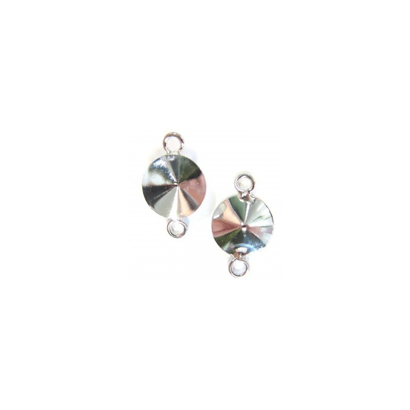 Металлическая основа для Подвески с двумя кольцами серебрянного цвета для rivoli 1122 12 мм прибл. 12x18mm
