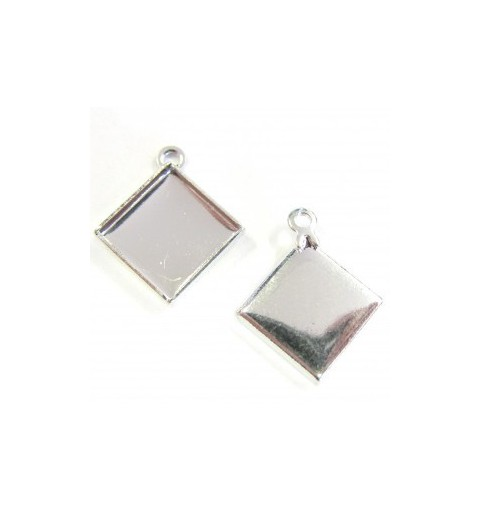 Metal silver plated Pendant setting with eye for chessboard 2493 12mm approx. 17x20mm