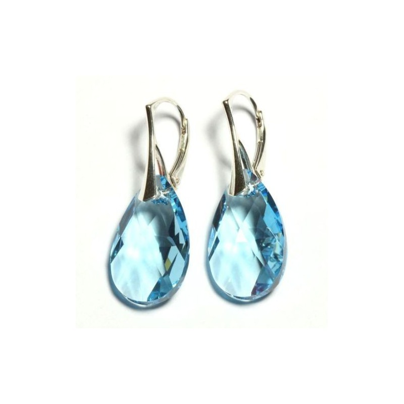 Sterling Silver EARRINGS with GENUINE SWAROVSKI Pear-shaped Aquamarine