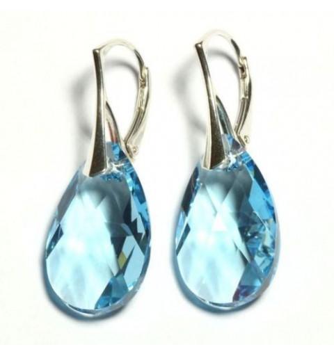 Sterling Hõbe Kõrvarõngad Ehtse Swarovski Pirni-kujuliste kristallidega Aquamarine