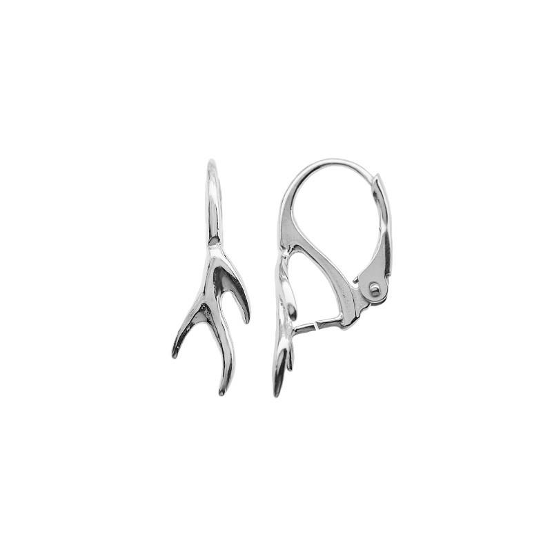 Серебрянная 925 (Стерлинг) основа для серёжки с замком 20x10MM для Сваровски