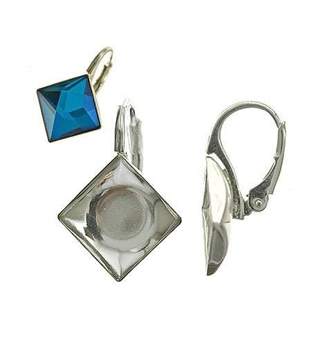 Серебрянная AG925 (Стерлинг) основа для серёжки с кольцом и замком 17.8X10.3MM