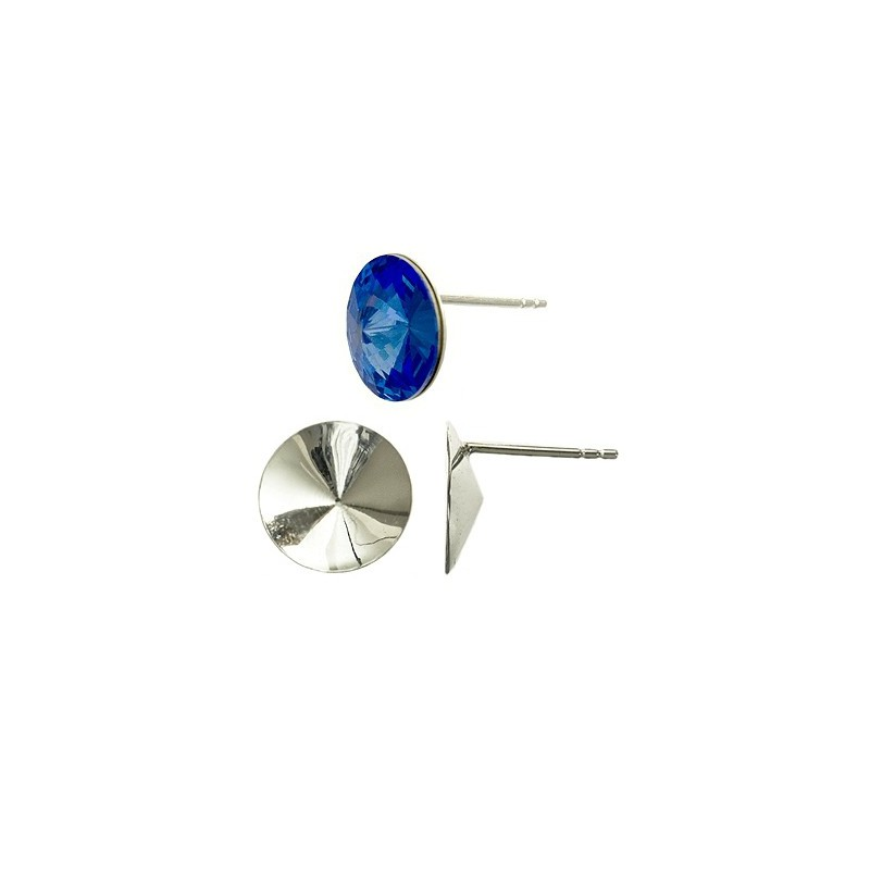 STERLING SILVER 925 EARRINGS STUD WITH CUP FOR RIVOLI 12MM