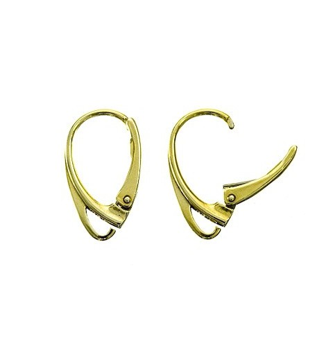 STERLING SILVER 925 GOLD PLATED FINDING LEVERBACK EARRING HOOK WIRE 17.8X10.3MM