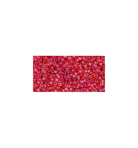 TR-15-241 INSIDE-COLOR RAINBOW LT TOPAZ/MAUVE LINED TOHO SEED BEADS