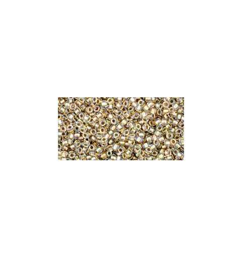 TR-15-262 INSIDE-COLOR CRYSTAL/GOLD LINED TOHO SEED BEADS