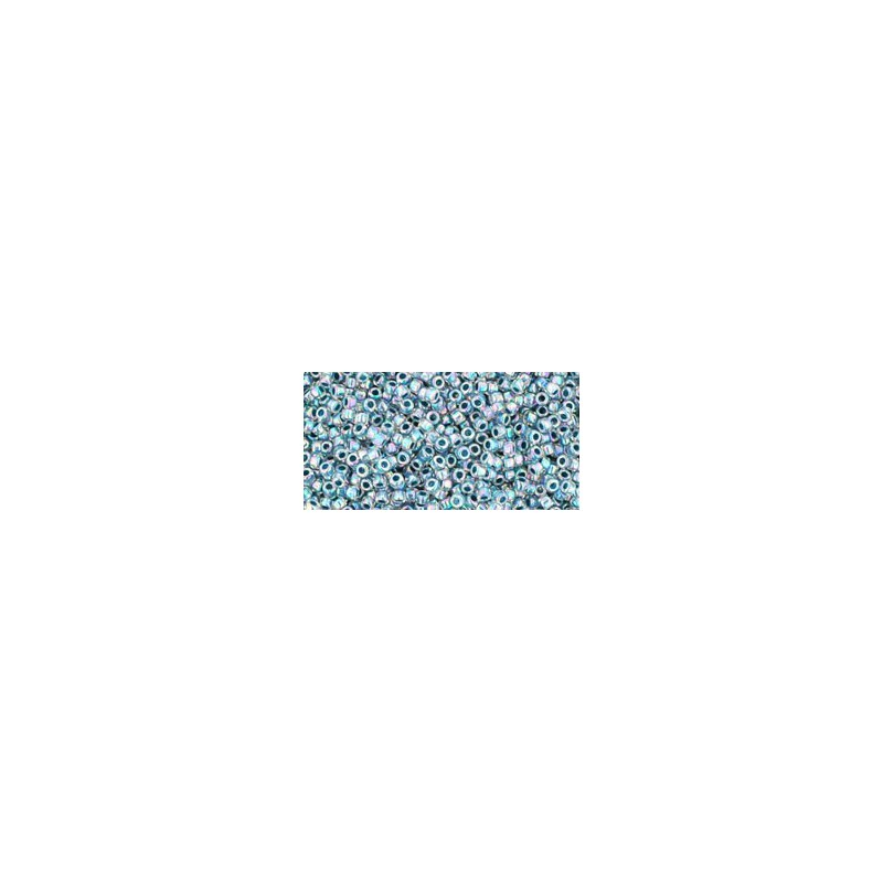 TR-15-773 INSIDE-COLOR RAINBOW CRYSTAL/MONTANA BLUE LINED TOHO SEED BEADS
